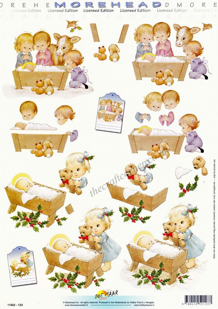 Morehead Christmas Children In A Nativity 3D Decoupage